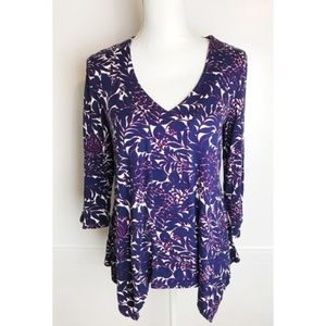 Adrianna Papell • Blue Floral Pattern Top
